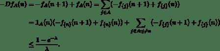 \begin{align*} - Df_A(n) &= -f_A(n+1) + f_A(n) = \sum_{j\in A} (-f_{\{j\}}(n+1) + f_{\{j\}}(n))\\ &= \mathbf{1}_A (n) (-f_{\{n\}}(n+1) + f_{\{n\}}(n)) + \sum_{j \in A : j\neq n} (-f_{\{j\}}(n+1) + f_{\{j\}}(n))\\ &\le \frac{1-e^{-\lambda}}{\lambda}. \end{align*}