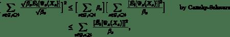 \begin{align*} \Big[\sum_{s \in \mathcal{G} , s \supseteq t} \frac{\sqrt{\beta_s}\bar{E_t}[\Psi_s(X_s)]}{\sqrt{\beta_s}}\Big]^2 &\leq \Big[\sum_{s \in \mathcal{G}, s \supseteq t} \beta_s\Big] \Big[\sum_{s \in \mathcal{G}, s \supseteq t} \frac{[\bar{E_t}[\Psi_s(X_s)]]^2}{\beta_s}\Big] \qquad\text{ by Cauchy-Schwarz}\\ &\leq \sum_{s \in \mathcal{G}, s \supseteq t}\frac{[\bar{E_t}[\Psi_s(X_s)]]^2}{\beta_s} ,  \end{align*}