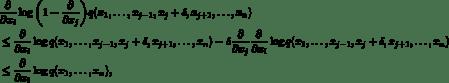 \begin{align*} &\frac{\partial}{\partial x_i}\log\bigg(1-\frac{\partial}{\partial x_j}\bigg)q(x_1,\ldots,x_{j-1},x_j+\delta,x_{j+1},\ldots,x_n) \\ &\le \frac{\partial}{\partial x_i}\log q(x_1,\ldots,x_{j-1},x_j+\delta,x_{j+1},\ldots,x_n) - \delta\frac{\partial}{\partial x_j} \frac{\partial}{\partial x_i}\log q(x_1,\ldots,x_{j-1},x_j+\delta,x_{j+1},\ldots,x_n) \\ &\le \frac{\partial}{\partial x_i}\log q(x_1,\ldots,x_n), \end{align*}