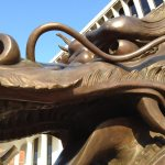 Close-up of dragon sculpture