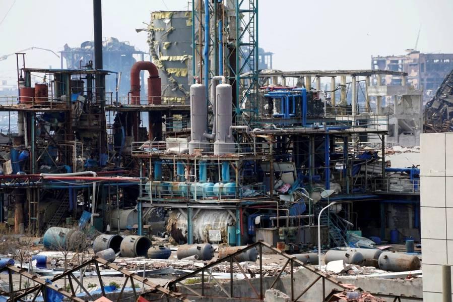 Las instalaciones dañadas tras una explosión en una planta de pesticidas en la provincia china de Jiangsu. REUTERS