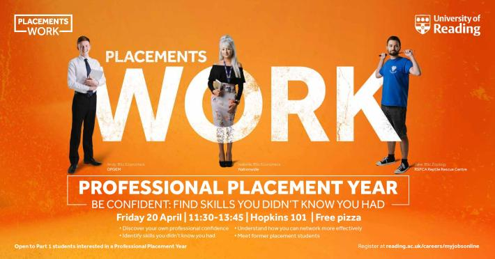 Placements Work orange banner with the date and place of the event