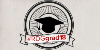 Black graduate cap stamp on a grey background
