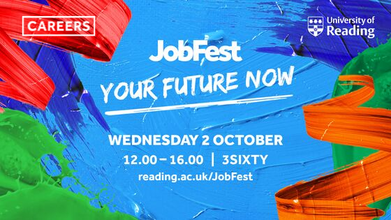 Jobfest advert with paint splodge background