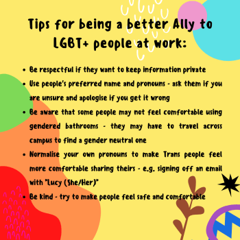 Tips for being a better ally to LGBT+ people at work