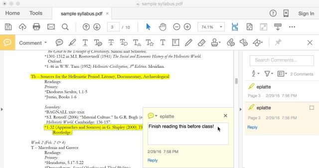 Annotating PDFs in Preview and Adobe Acrobat Reader  Teaching and