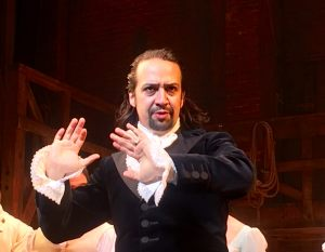 Photo of Lin Manuel Miranda in musical Hamilton