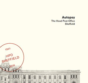 An image of the front cover of Autopsy by Roger Bateman / Sheffield Institute of Arts, featuring a drawing of the building and a post mark