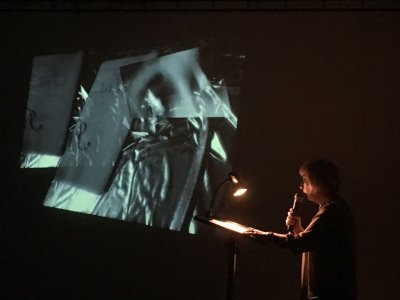 Rehearsal of performance paper presented at SRN2017, Emma Bolland (2017), photo credit J.R. Carpenter