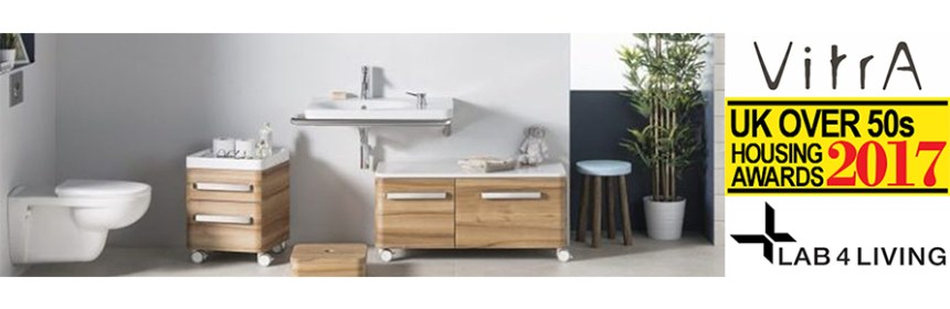 Composite image - Inclusive bathroom design by Vitra, Vitra logo, Lab4Living logo and UK Over 50s Housing Award 2017 logo