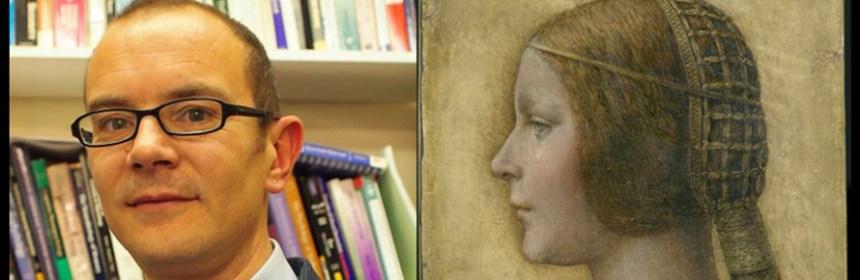 Composite image of Leonardo da Vinci's 'La Bella Principessa' and Dr Alessandro Soranzo