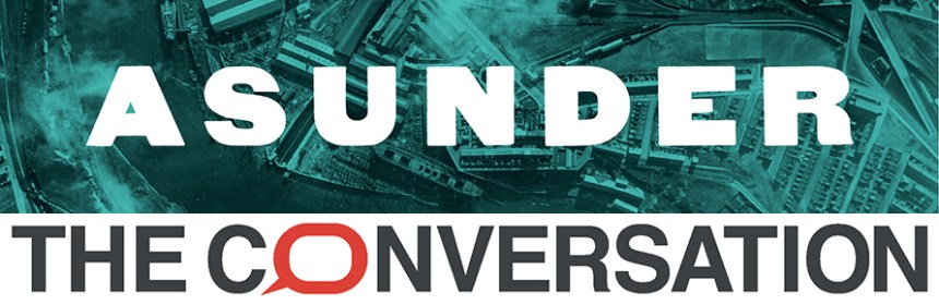 ASUNDER logo/background and The Conversation logo