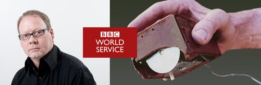 Image of Paul Atkinson, an old computer mouse (from BBC World Service, Prototype of the first mouse computer presented in 1968 (invented in 1963 by Douglas C. Engelbart) Credit: Apic/Getty Images) and BBC World Service logo