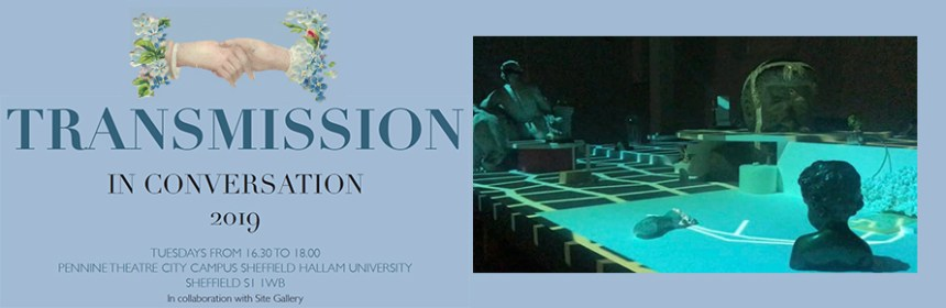Transmission logo and Play it as it lays Installation featuring a collection of objects and materials, video projection and audio As Much About Forgetting, a group exhibition, Viborg Kunsthal, Denmark 2018 by TC McCormack