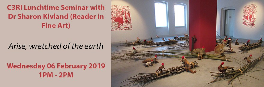 Seminar banner for Sharon Kivlands 'Arise, wretched of the earth' seminar. Featuring image of exhibition Die Holzdiebe at ZAK