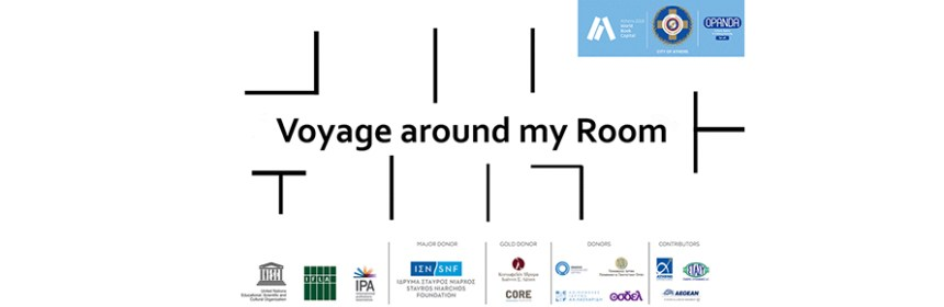 Banner image for 'Voyage around my room' exhibition featuring Sharon Kivland in Athens