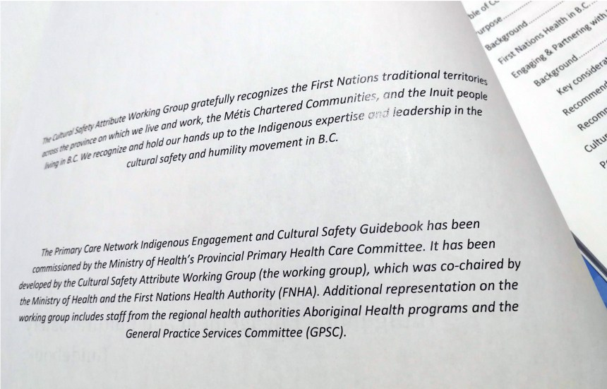 A document attempting to include the first nations in the Canadian health system