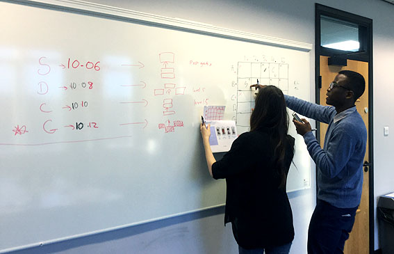 Students using whiteboards