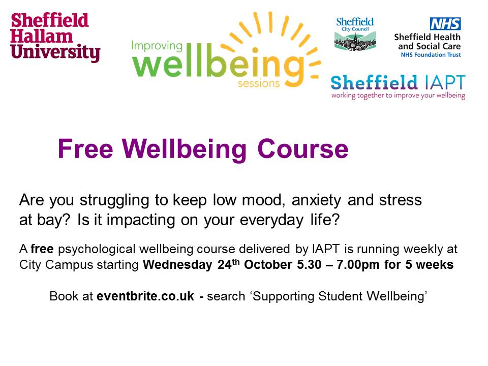Free wellbeing courses for students – Living Well with IBS and managing low mood and anxiety starting Wednesday 24th October
