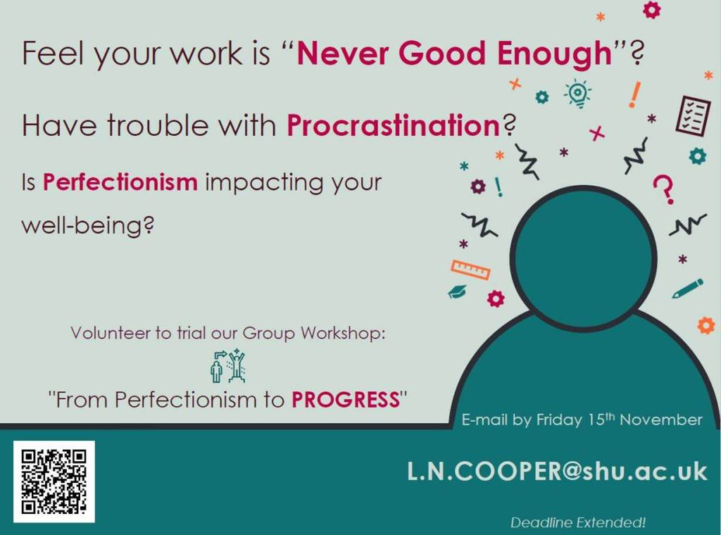 From Perfectionism to Progress – volunteers needed!