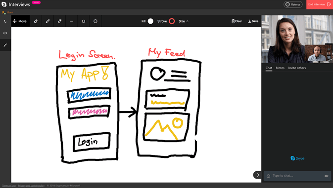 Screenshot displaying the pencil tool options in Skype Interviews whiteboard.