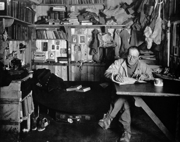 Captain Robert Falcon Scott writes in his journal a year before his death. Photo: Library of Congress