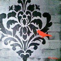 Orange Bird on Damask, original acrylic on canvas by Amber Martinez