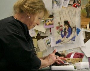 Debbie Stewart, felt artist for Wild Rivers Wool Factory, in her studio at Debbie's Hair Station, Bandon