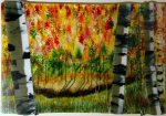 Autumn Birch, textured and layered fine art glass landscape by Michael Korpa
