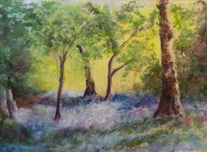 Bluebell Woods, pastel painting by Norm Rossignol