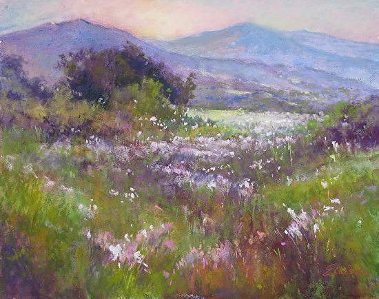 "Image of painting ""Spring Meadow""  Pastel by Janis Ellison, 11 x 14"