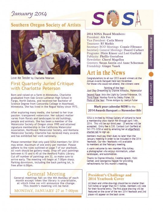 Click to view larger version of the Southern Oregon Society of Artists February 2014 Newsletter