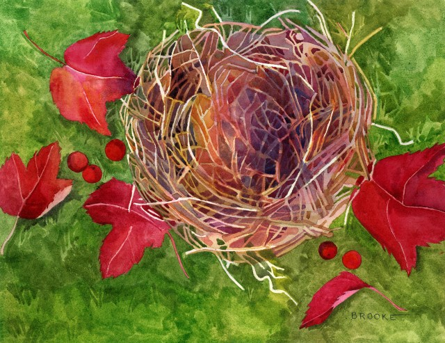 Fallen Nest, watercolor painting by Anne Brooke