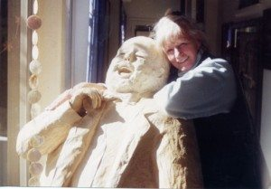 """Pavarotti, A Man Who Loved Women With Attitude"" sculpture, posing with J. Ellen Austin. Artist: Elyn Nix"