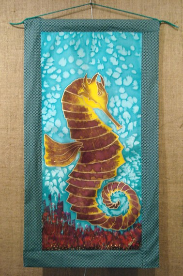 Handpainted silk wall hanging with an endangered seahorse design by Judy Elliott
