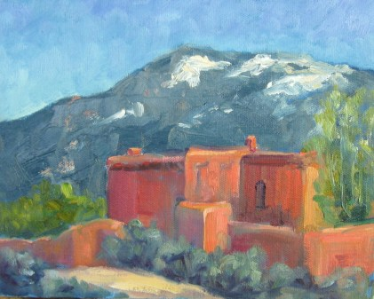 One of the last paintings done by Silvia Trujillo during her stay in the Taos/ Arroyo Seco area of New Mexico during the first half of 2014