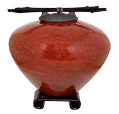 Red Cremation Urn by John Dodero