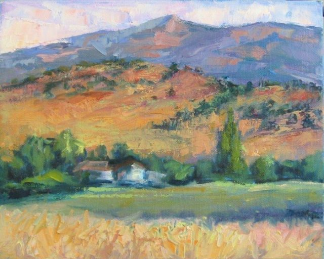 """Bucolic"" Plein air oil painting by Silvia Trujillo, Ashland, Oregon 2014"