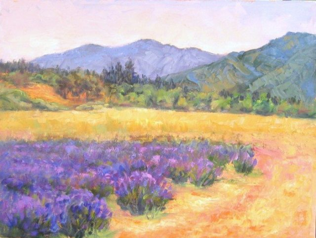 """Lavender Fields Forever"" Plein air oil painting by Silvia Trujillo, Ashland, Oregon 2014"