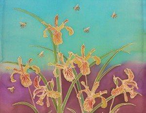 Oregon Wild Iris with Bees, by Judy Elliott