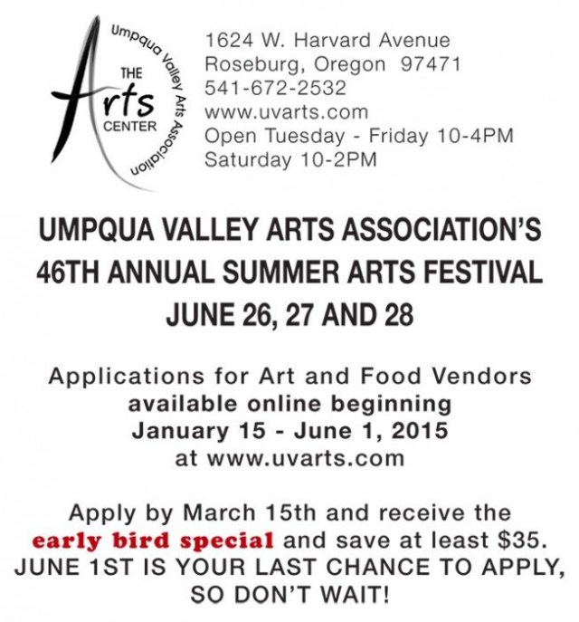 Umpqua Valley Arts 2015 Summer Arts Festival Call to Artists
