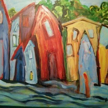 Houses, original painting by David Gordon