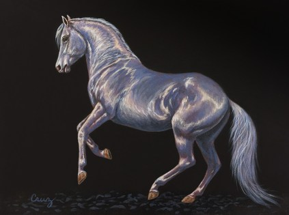 Pearl on Basic Black, Painting of an Andalusian horse by artist Linda Cruz