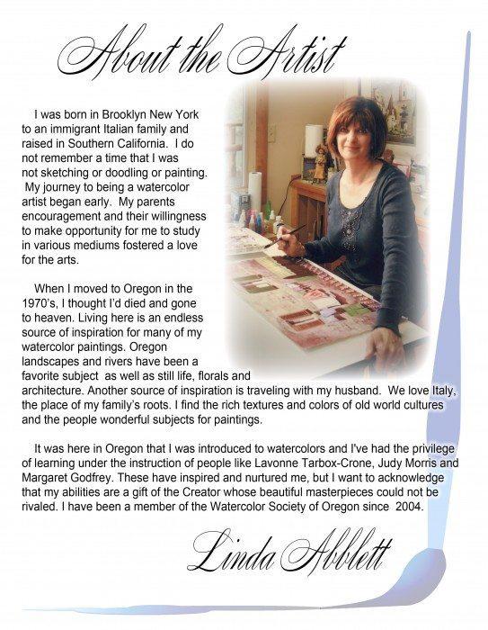 watercolor painter Linda Abblett's artist bio