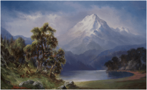 Illumination of Mt Shasta from Tule Lake, oil painting by Stefan Baumann, acclaimed landscape and wildlife artist,  judge at Southern Oregon Society of Artists critique Monday, July 27, 2015.