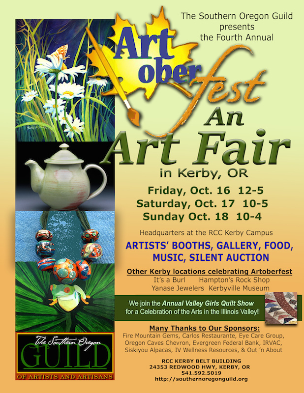 Artoberfest 2015 flyer Southern Oregon Guild of Artists and Artisans, Kerby, Oregon