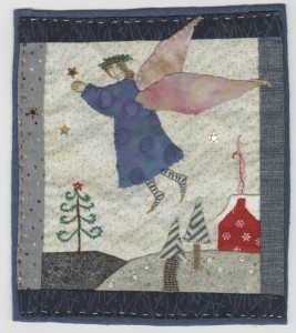 """The Blue Angel,"" 12"" x 16"" stitchery by Katharine Gracey"