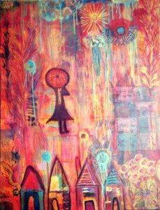 """Fire & Rain Umbrella Angel,"" 30"" x 40"" acrylic/mixed media on canvas by Jessica Lee"
