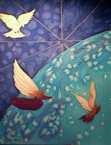 "World Peace Angel, 16"" x 20"" hand painted silk by Judy Elliott"