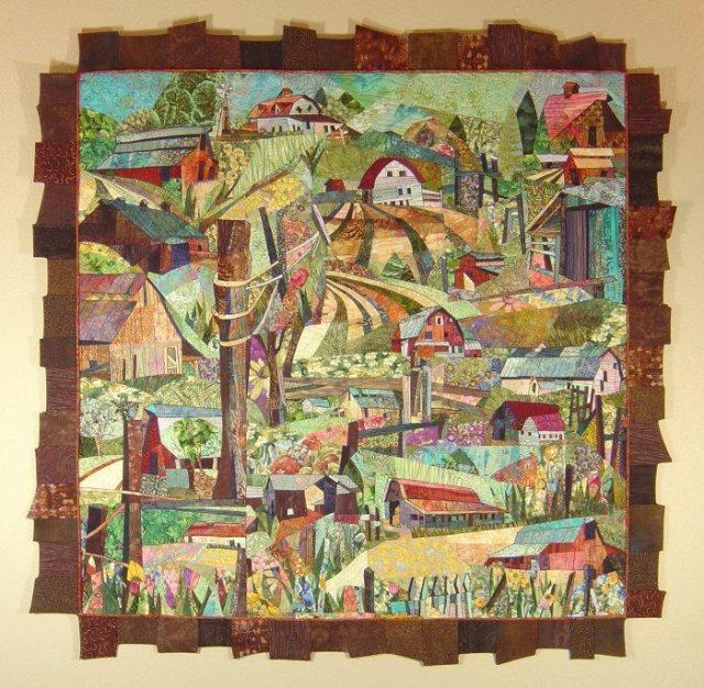 Everyday Barns, quilt by Karen Hanken, Art du Jour Gallery, Medford, Oregon, January 2016